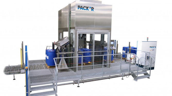 automatic pallet drum filler capper